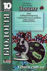 ГДЗ Біологія 10 клас Котик Тагліна 2010 - Зошит для лабораторних та практичних робіт