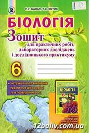 ГДЗ Біологія 6 клас П.Г. Балан, Т.С. Котик 2014 - Зошит для практичних робіт